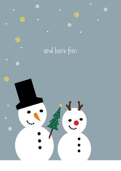 Kerstkaart funny sneeuwpoppen kids 2