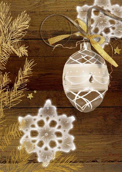 Kerstkaart gezellig hout goud met eigen foto 2