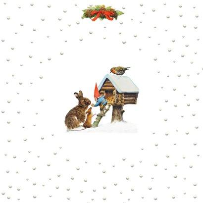 Kerstkaart gezellig kabouterwinterlandschap Achterkant