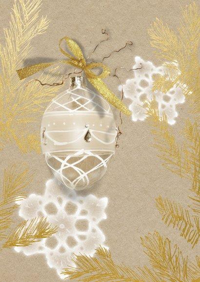 Kerstkaart glazen kerstbal gouden kersttak 2
