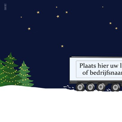 Kerstkaart - glazen kerstbal met vrachtwagen 2