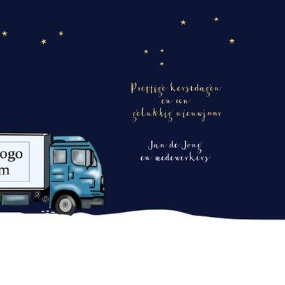 Kerstkaart - glazen kerstbal met vrachtwagen 3