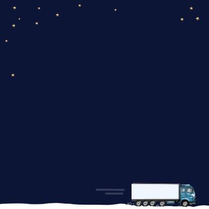 Kerstkaart - glazen kerstbal met vrachtwagen Achterkant
