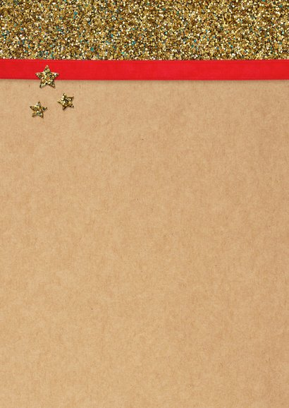 Kerstkaart glitter boom goud 2