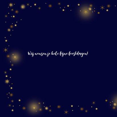 Kerstkaart glitter sterren goudlook 2