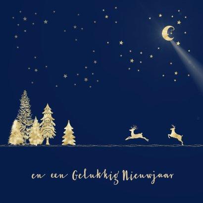 Kerstkaart goud-illustratie op blauw 2