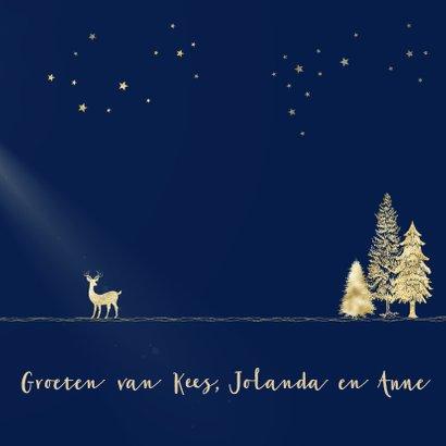 Kerstkaart goud-illustratie op blauw 3