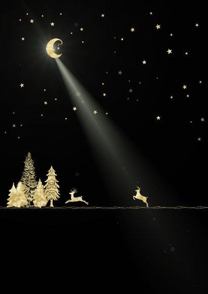 Kerstkaart goud-illustratie op zwart 2