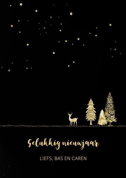 Kerstkaart goud-illustratie op zwart 3