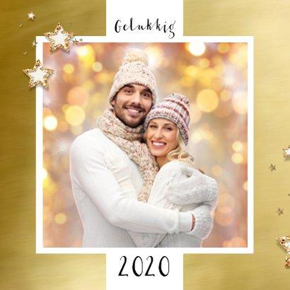 Kerstkaart goud kader en sterren bij eigen foto 2