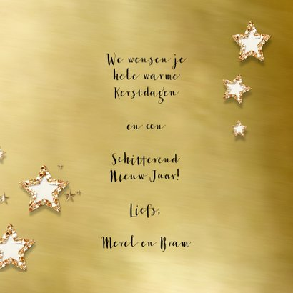 Kerstkaart goud kader en sterren bij eigen foto 3