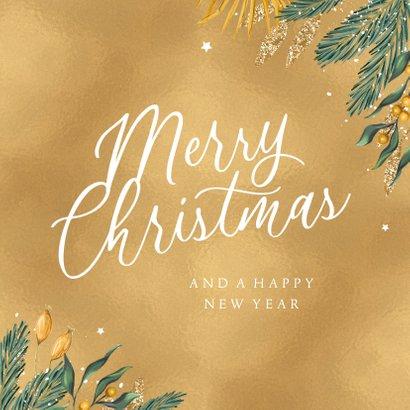 Kerstkaart goud merry christmas zakelijk  3