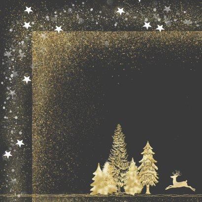 Kerstkaart goud op grijs met foto 2