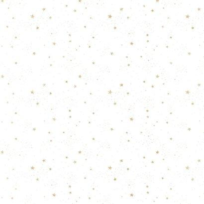 Kerstkaart goud op wit met sterretjes 2