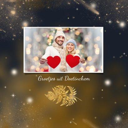 Kerstkaart gouden blad en sterren 2