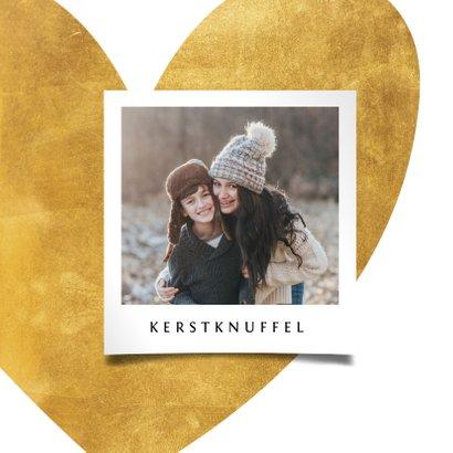 Kerstkaart gouden hart met foto 2