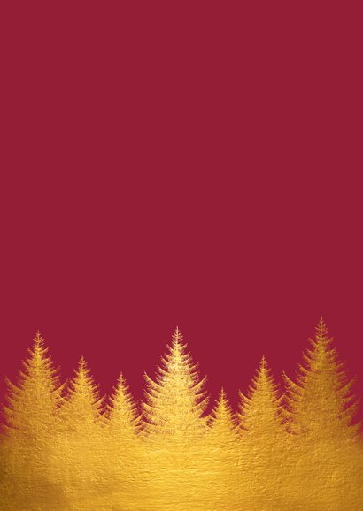 Kerstkaart gouden kerstbomen en foto Achterkant