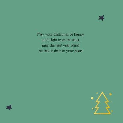 Kerstkaart gouden kerstboom groen 2021 3