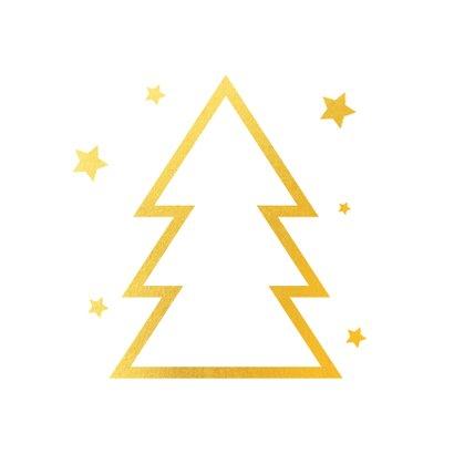Kerstkaart gouden kerstboom logo 2