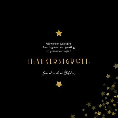 Kerstkaart gouden kerstboom met sterren Fijne Feestdagen 3