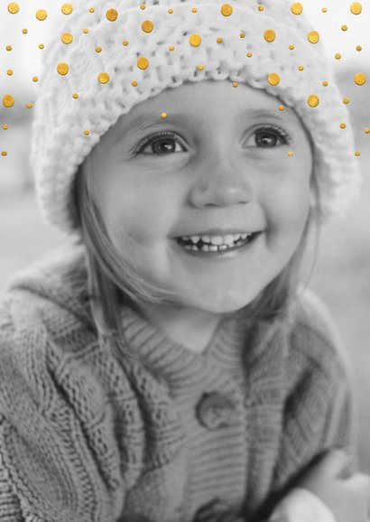 Kerstkaart gouden kerstwens en confetti met grote foto 2