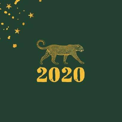 Kerstkaart gouden luipaard met spetters en sterren 2