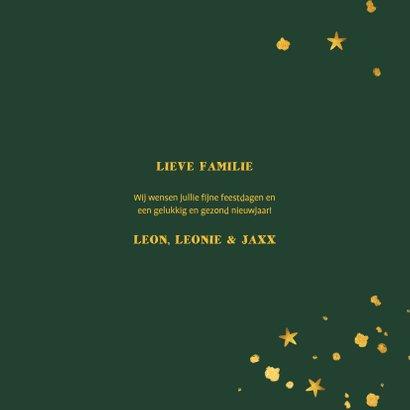 Kerstkaart gouden luipaard met spetters en sterren 3