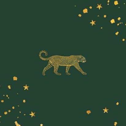 Kerstkaart gouden luipaard met spetters en sterren Achterkant