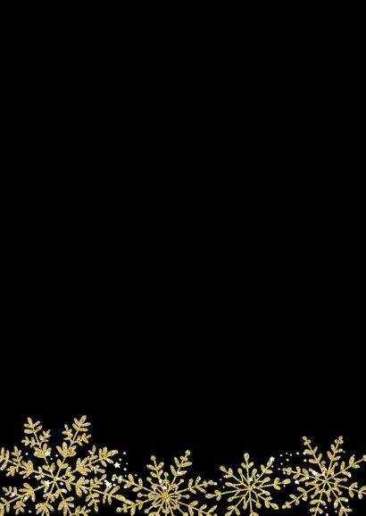 Kerstkaart gouden sneeuwvlokken 2