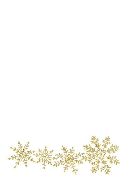 Kerstkaart gouden sneeuwvlokken Achterkant
