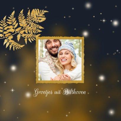 Kerstkaart gouden ster en blad 2