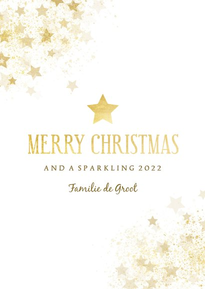 Kerstkaart gouden ster met foto stijlvol 3