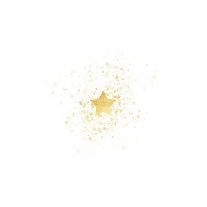 Kerstkaart gouden ster stijlvol Merry Christmas Achterkant