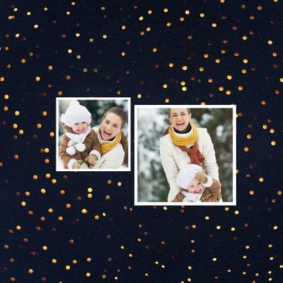 Kerstkaart gouden stippen met  4 foto's 2