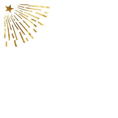Kerstkaart gouden stralen 2