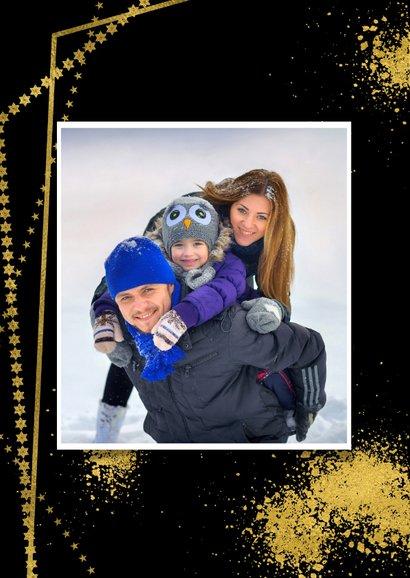 Kerstkaart goudkaders op zwart en eigen foto 2