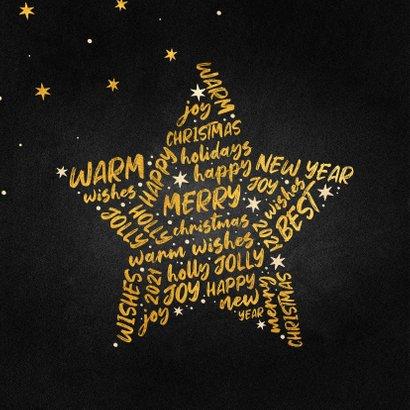 Kerstkaart goudlook ster met woorden krijtbord 2