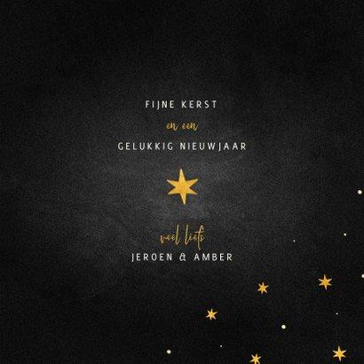Kerstkaart goudlook ster met woorden krijtbord 3
