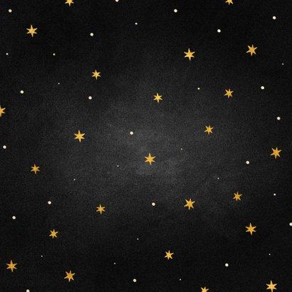 Kerstkaart goudlook ster met woorden krijtbord Achterkant