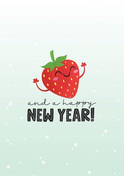 Kerstkaart grappig kawaii strawberry berry christmas aardbei 2
