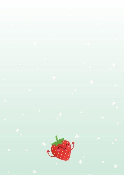 Kerstkaart grappig kawaii strawberry berry christmas aardbei Achterkant
