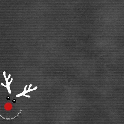 Kerstkaart grappige met illustratie rendier Happy Achterkant