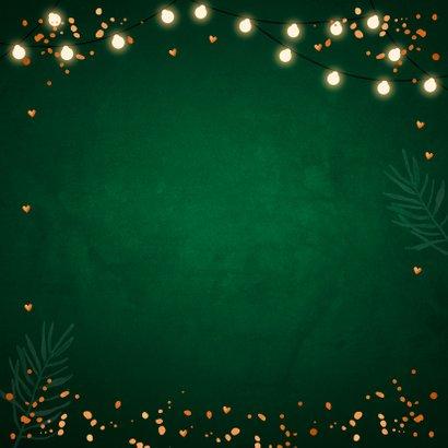 Kerstkaart groen foto lampjes confetti koperlook 2