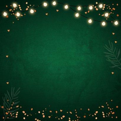 Kerstkaart groen foto lampjes confetti koperlook Achterkant