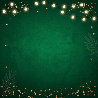 Kerstkaart groen fotocollage confetti koperlook 2