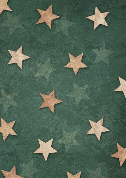Kerstkaart groen lampjes sterren label foto 2
