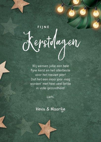 Kerstkaart groen lampjes sterren label foto 3