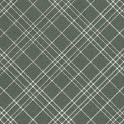 Kerstkaart groen ruitpatroon met polaroid foto 2