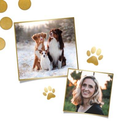 Kerstkaart grote foto, gouden confetti en fijne feestdagen! 2