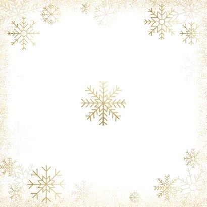 Kerstkaart grote foto, gouden sneeuwvlokken en sneeuw Achterkant